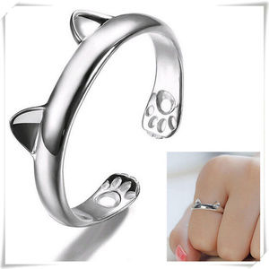 Silver open adjustable ring with cat ears motif